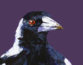 Magpie canvas art print,more colours,bird art print,palette knife oil print,canvas art,wall art print,home decor,canvas wall art,bird right