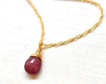 Ruby Necklace in Gold, July Birthstone, Tear Drop Ruby Pendant, Ruby Jewelry, Ruby Birthstone Necklace, July Birthstone Jewelry
