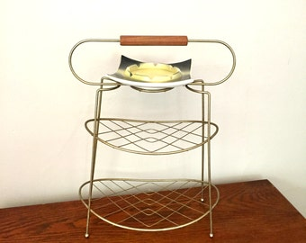 Mid-Century Modern Gold Metal Smoking Stand With Yellow and Black Ashtray,Mid-Century Three Tiered Smoking Stand, Book Stand
