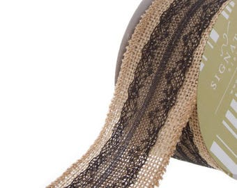 Hessian Jute Flax Ribbon with Black Lace 60 mm wide x 10m long