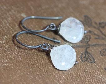 Moonstone Earrings White Gemstone Antiqued Sterling Silver Earrings