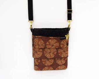 Brown and Gold Tapestry Convert-A-Bag, Purse, Sectional Bag, Organizer Purse