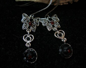 Earrings DARK GLAMOUR  Swarovski black red silver roses butterflies  Halloween24/7, FunkyAlternativeJewelry, paganteam, WitchesofEtsy, WWWG