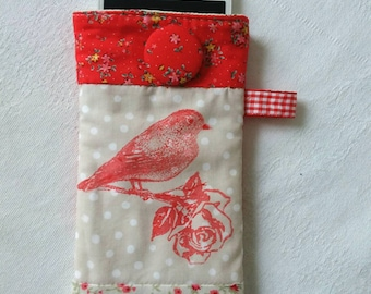 Cell phone door padded with cloth, with hand-coated button. Red Bird houses; Cover for cellphone.