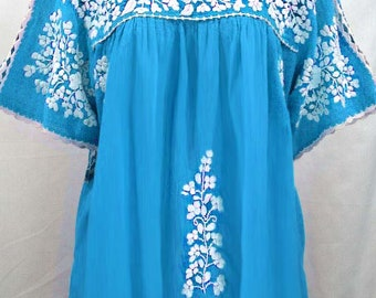 """Embroidered Mexican Blouse XL: """"Lijera Libre"""" by Siren in AQUA with WHITE Embroidery"""