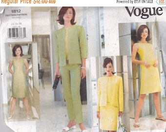 ON SALE Vogue Sewing Pattern - No 1812 Jacket, Dress, Top, Skirt, Pants  Size 14-18 Factory folded and complete