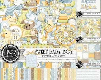 On Sale 50% Off Sweet Baby Boy Digital Scrapbook Kit Collection or Bundle for Digital Scrapbooking and Paper Crafting