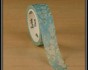 masking tape white cherry blossom on blue 15mm x 7 m