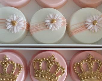 Princess Oreos, princess chocolate covered oreos, pink and gold oreos, baby shower oreos, birthday oreos