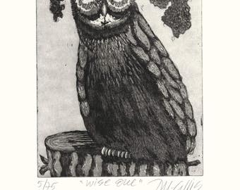 owl art print, bird wall art, black and white art print, bird art, wise owl, bird art, limited edition art, etching, printmaking, tree stub,
