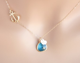 Personalized sideways Anchor necklace  with blue stone in bezel and initial heart - Gold Filled - anchor jewelry ,engraved monograms Heart
