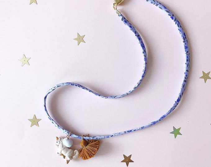 Liberty of London Charm Necklace For Little Girls, Unicorn Charm, giddyupandgrow