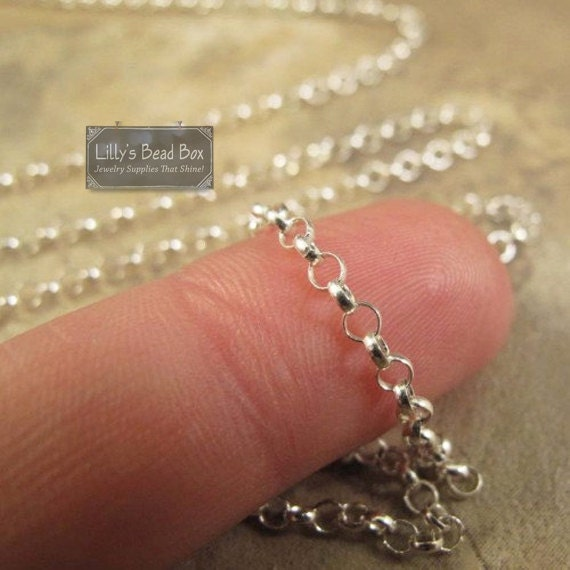 Silver Rolo Chain, Sterling Silver Filled Small Rolo 2.1mm Chain, Necklace or Bracelet Chain, By The Foot, Jewelry Supplies (FS:136/50f)