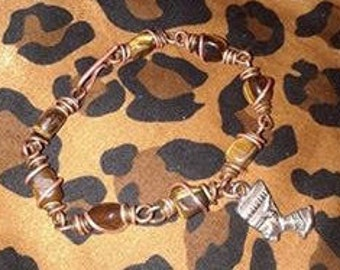 Tiger's Eye Nefertiti Copper Link  Bracelet