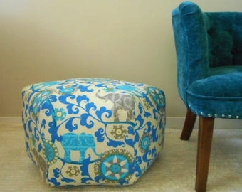 Elephant Pouf, indoor outdoor fabric, Blue and Grey, Ottoman, foot stool, Large Floor Pouf