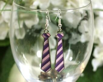 Purple striped tie Enamel Charm Earrings