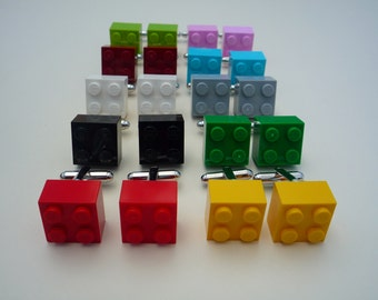 Cufflinks: 2 x 2 Lego® blocks with silver tone metal cufflink. Available in a wide variety of colours.