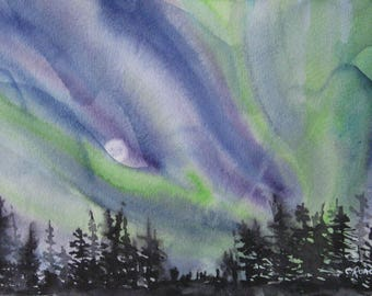Aurora Borealis Painting. Northern Lights and Moon. Auroras. Night sky, landscape original signed painting. OOAK art, 7.5x11in. Not a print!