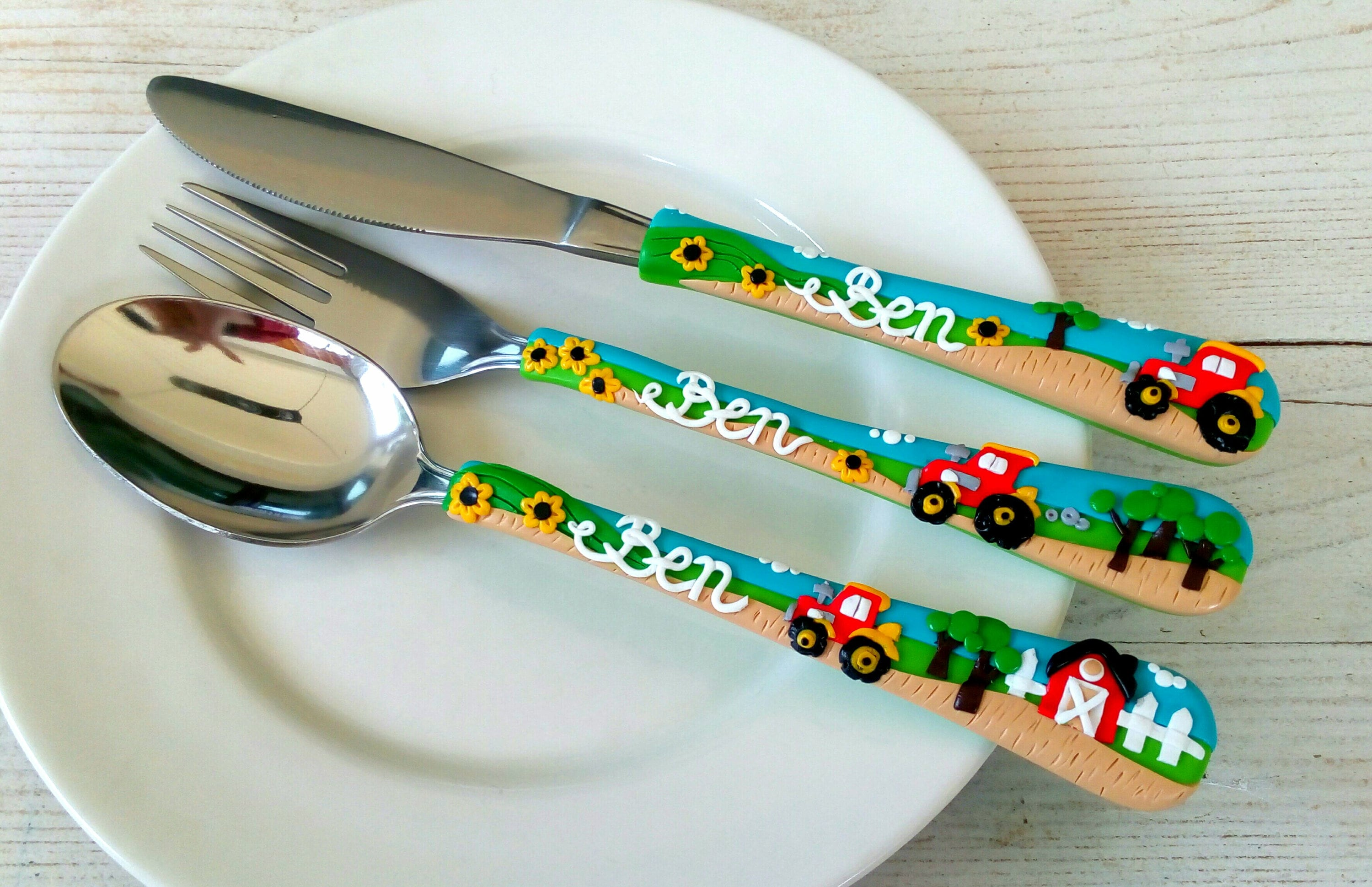 Tractor Personalized Cutlery Set Polymer clay Fork and Spoon