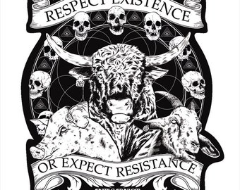 "Vegan Sticker ""Respect Existence or Expect Resistance"" By Anticarnist Vegan Gifts, Vegan Stickers"