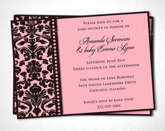 Damask Edged Baby Shower Invitation - Pink Brown - DIY Printable