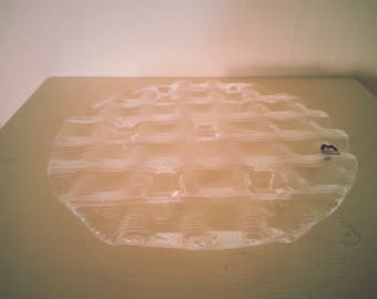 Glass Cake Stand / Serving Plate with Squares / Geometric Patterning - with original 'Muuria Finland' label