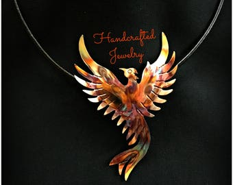 phoenix pendant, phoenix necklace, phoenix rising, phoenix jewelry, firebird, flame painted copper, fire torched copper, statement necklace