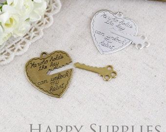 Nickel Free - High Quality Raw Brass Heart and Key Charm / Pendant (BG326)