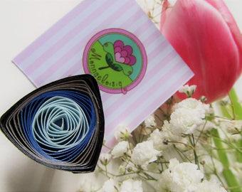SilverBlue spiral paper filigree Ring