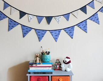 Flag bunting set.Boy nursery bunting.Blue fabric bunting.Moustache nursery decoration.Birthday party garland.Handmade and Ready to ship!