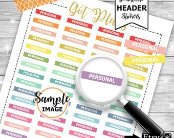 Personal Headers, Stickers For Planners, Printable Planner Stickers, Header Stickers, Personal Labels