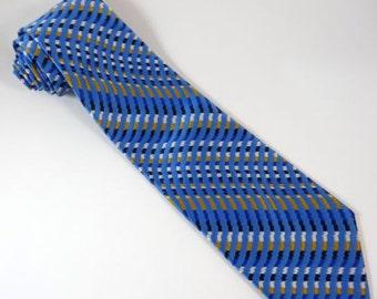 Vintage WIDE Tie Beau Brummell Blue Gold Stripe Necktie