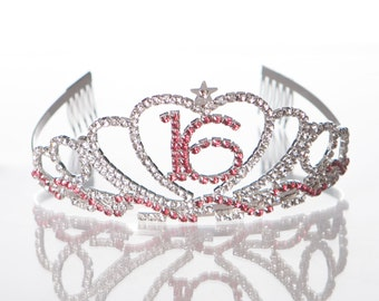 Sweet 16 Tiara, 16th Birthday, Rhinestone Crystal Silver and Pink Crown, Accessories, Party Supplies & Ideas, Sixteen Sixteenth