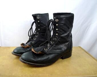 Vintage Laredo Roper Cowboy Boot Women size 6.5 Black