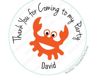 Crab Thank you for coming to my party . Personalized Sticker Label, Sticker, Round Stickers, tags, Labels or Envelope Seals  A770