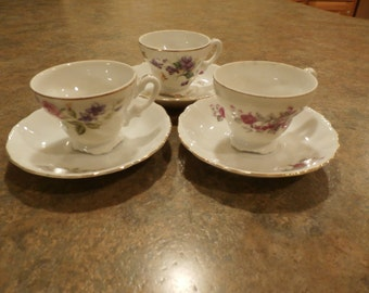 Yamaka China Japan Floral Teacup and Saucer - Three Designs