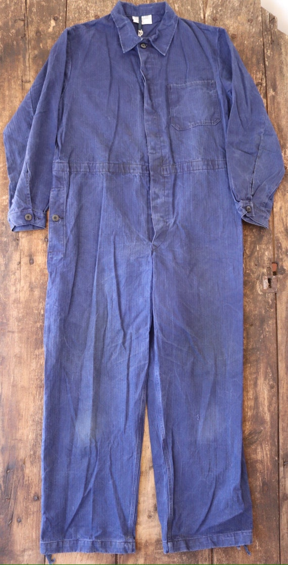 "Vintage french blue blue de travail hbt herringbone twill overalls coveralls workwear factory farm 45"" chest 41"" x 30"" cotton"