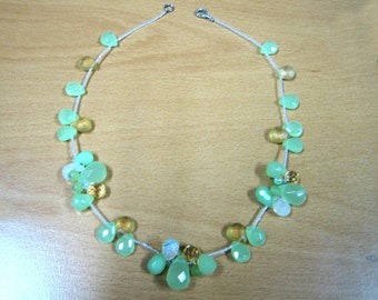 Gemstone Cluster Necklace With Sterling Silver Clasp