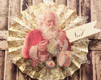 Santa Ornament, Christmas Ornament, Victorian Ornament, Paper Ornament, FrenchOrnament, Noel