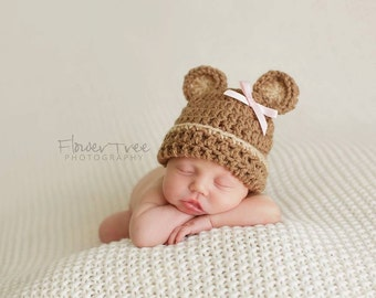 Newborn Bear Hat, Hat With Bow, Baby Hat, Infant Hat, Teddy Bear Hat, Neutral Hat, Newborn Photo Prop, Newborn Boy Or Girl Hat