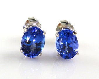 2.65 Carat AA Quality Tanzanite Stud Earring In 14k White Gold, December Birthstone, Beautiful fire in Purple Color, Rare Zoisite  (145209)