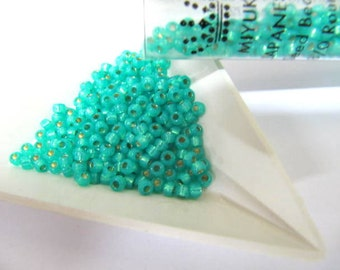 Miyuki Size 8, Glass Seed Beads, 22 Grams Tube, Seafoam, Silver Line, Round, Japanese Beads, Wire Wrapping, Bead Stringing, Bead Embroidery,