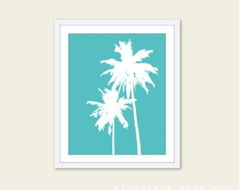 Palm Trees Tropical Digital Art Print  - Modern Home Decor - Summer Beach Vacation Home - Turquoise Aqua Blue - Under 20