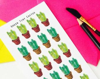 Green Tiny Cactus Stickers, Botanical Stickers, Planning Stickers,  Erin Condren, Cactus Stickers