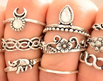 Rings bohemian for woman 10 pcs