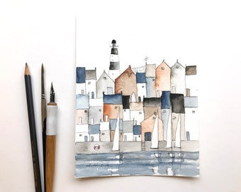 original watercolor painting of a harbor town with lighthouse