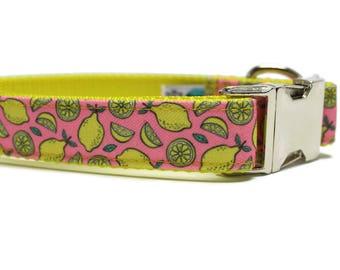 Canvas Dog Collar | Lemon Canvas Dog Collar | Summer Dog Collar | Pink Dog Collar | Yellow Dog Collar | Strong Dog Collar