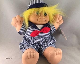 "Russ Troll Kidz Soft Doll, 12"" Tall, Skippy With Yellow Hair"