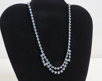 "1950s Vintage Rhinestone Necklace - Light Blue Foiled Crystal Rhinestones - Midcentury Costume Jewelry 15"" Wedding Bridal"