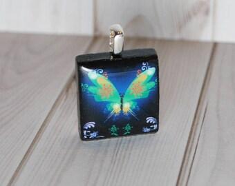 Butterfly jewelry - butterfly pendant - Scrabble jewelry - nature jewelry - butterfly lover gift - gift for her - butterfly charm